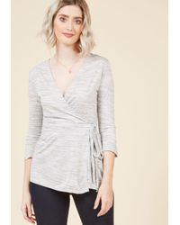 ModCloth | Gray Wrap Recognition Knit Top In Ash | Lyst