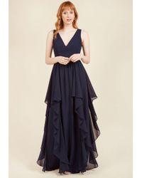 ModCloth   Blue As Ruffles Ripple Maxi Dress In Navy   Lyst