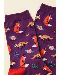 ModCloth | Purple Fox, Look, And Listen Socks | Lyst