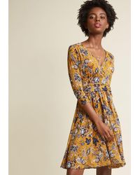 881a2dfdca8 Lyst - Modcloth Surplice Knit A-line Dress in Yellow