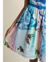 ModCloth - Blue Whimsy Without End A-line Dress In Snow Cats - Lyst