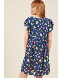 Motel | Blue Ebullient Energy Babydoll Dress In Navy | Lyst