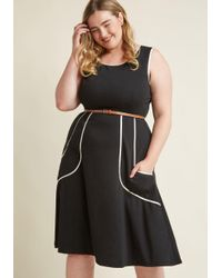 ModCloth - Outline Of Work Midi Dress In Black - Lyst