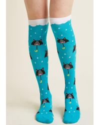 ModCloth | Blue Rain In The Fore-cats Knee Socks | Lyst