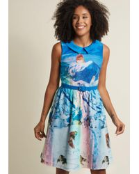 ModCloth | Blue Whimsy Without End A-line Dress In Snow Cats | Lyst
