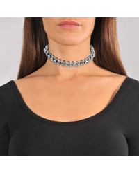 Helene Zubeldia - Multicolor Ribbon Choker Necklace In Ruthenium And Crystals - Lyst