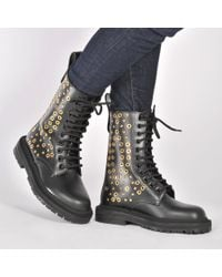 Burberry - Multicolor Eyelet And Rivet Detail Leather Army Boots - Lyst