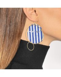 J.W. Anderson - Blue Moon Face Earrings In Sapphire Eco Brass - Lyst