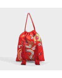 Attico - Red Pouch Bag In Multicolor Satin With Sequins, Pearls And Tassels - Lyst