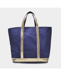 Vanessa Bruno - Blue Canvas And Sequins Medium Tote Bag In Indigo And Gold Cotton - Lyst