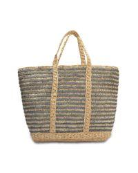 Vanessa Bruno - Multicolor Lurex Raffia Large Tote Bag In Steel Lurex And Raffia - Lyst