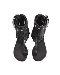 Giuseppe Zanotti - Black Sandal With Fringe - Lyst