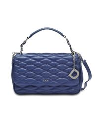 DKNY - Gray Diamond Quilted Medium Flap Shoulder Bag - Lyst