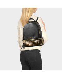 MICHAEL Michael Kors - Rhea Zip Medium Studded Backpack In Black Calfskin - Lyst