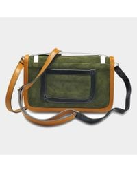 Pierre Hardy - Multicolor Alpha Crossbody Clutch Bag In Multi Khaki Suede And Calfskin - Lyst