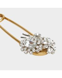 Burberry - Metallic Crystal And Brass Oversized Pin In Crystal And Metal - Lyst