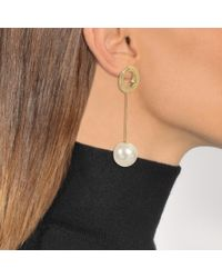 Joanna Laura Constantine - Metallic Gold Plated Grommets Pearl Earrings - Lyst