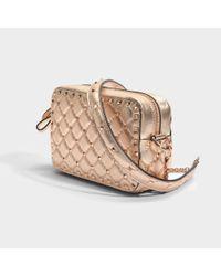 Valentino - Multicolor Metallic Rockstud Spike Crossbody Bag In Rose Gold Metallic Calf - Lyst