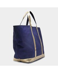 Vanessa Bruno - Blue Canvas And Sequins Medium + Tote Bag In Indigo And Gold Cotton - Lyst