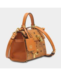 MCM - Brown Heritage Satchel Bag In Cognac Visetos - Lyst