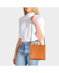 Sophie Hulme - Brown Square Albion Tote Bag In Tan Cowhide Leather - Lyst
