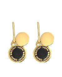 Marc Jacobs - Black Enamel Logo Disc Earrings - Lyst
