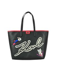 Karl Lagerfeld | Black Karl & Choupette Ski Holiday Shopper Bag | Lyst