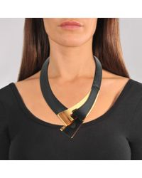 Marni - Black Leather And Metal Necklace - Lyst