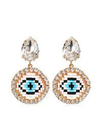 Shourouk | Blue Happy Small Eye Earrings | Lyst