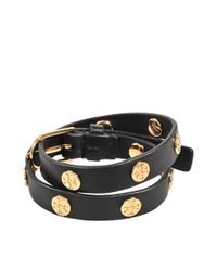 Tory Burch | Black Double-wrap Logo Stud Bracelet | Lyst