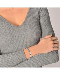 Tory Burch - Gray Logo Stud Hinge Bracelet In Tory Silver Stainless Steel - Lyst