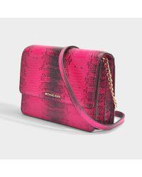 MICHAEL Michael Kors - Multicolor Gusset Large Crossbody Bag In Ultra Pink Python Embossed Calfskin - Lyst