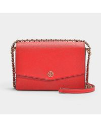4f065ba967a5 Tory Burch. Women s Robinson Mini Shoulder Bag In Red Saffiano Calfskin