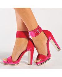 Alexander McQueen - Blue Velvet Platform Sandals - Lyst