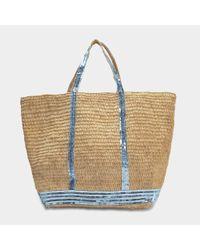 Vanessa Bruno - Multicolor Raffia And Sequins Large Tote Bag In Aqua Raffia - Lyst
