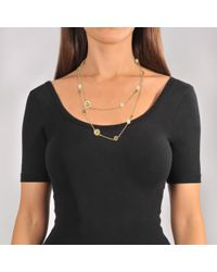 Tory Burch - Multicolor Raised Logo Rosary Necklace In Ivory Tory Gold Brass And Enamel - Lyst