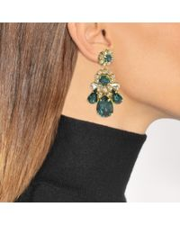 Shourouk - Multicolor Ds Emerald Earrings In Green Brass And Swarovski Crystals - Lyst