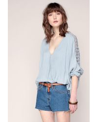 Free People   Blue Embroidered Tunics   Lyst