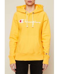 Champion - Yellow Cotton Hoodie - Lyst
