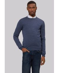 DKNY | Slim Fit Steel Blue Merino Wool Crew Neck Jumper for Men | Lyst