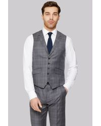 Ted Baker | Gray Tailored Fit Grey Check Waistcoat for Men | Lyst