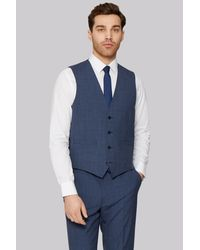French Connection   Slim Fit Blue Textured Waistcoat for Men   Lyst