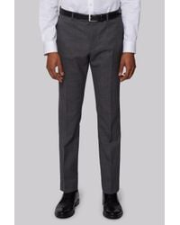 DKNY | Gray Slim Fit Charcoal Nailhead Trousers for Men | Lyst