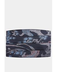 Moss London - Blue Navy Bird Cummerbund for Men - Lyst