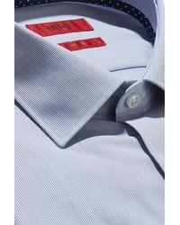 HUGO - Blue Slim Fit Navy Hairline Stripe With Contrast Trim Shirt for Men - Lyst