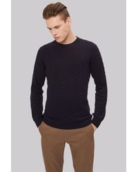 Moss London - Blue Navy Cable Crew Neck Jumper for Men - Lyst