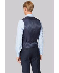 Hardy Amies - Blue Tailored Fit Navy Birdseye Waistcoat for Men - Lyst