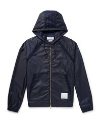 Thom Browne - Blue Mesh-trimmed Ripstop Hooded Jacket for Men - Lyst
