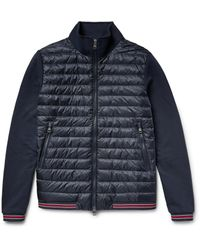 Moncler - Blue Loopback Cotton-jersey And Quilted Shell Down Bomber Jacket for Men - Lyst