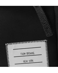 Thom Browne - Black Pebble-grain Leather-trimmed Nylon Backpack for Men - Lyst